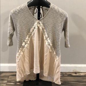 Daytrip flowing tunic 3/4 sleeves gray/blush